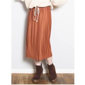 dazzlin カットプリーツミドルタイトスカート(ブラウン)