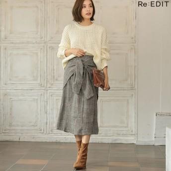 ひざ丈スカート - Re: EDIT ウエストすっきり上品リボンスカート ウールタッチウエストリボンロングスカート ボトムス/スカート/ミニ丈(40~50cm)