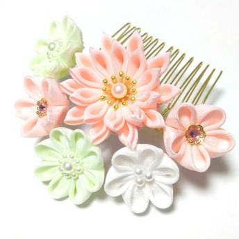 つまみ細工の髪飾り ヘアコーム【ピンク・黄緑・白】