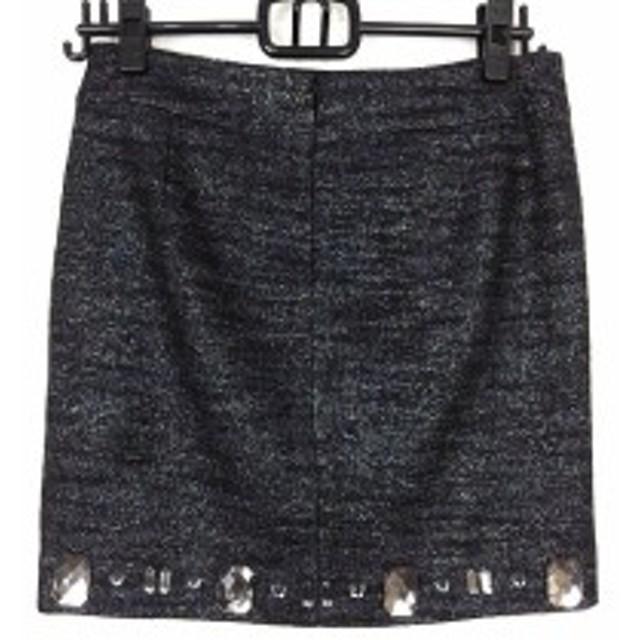 ピンキー&ダイアン Pinky&Dianne スカート サイズ38 M レディース 美品 黒×シルバー ツイード/ラメ/ビジュー【中古】