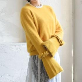 ニット・セーター - Re: EDIT 袖のフリルで大人エレガントを満喫する 袖コンシャスカラーニットトップス トップス/ニットトップス