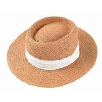 [マドルガーダフォービーチ] 麦わら帽子 ストローハット レディース 日除け帽子 紫外線 UVカット S688 小麦色 × ホワイト(小麦色 ×