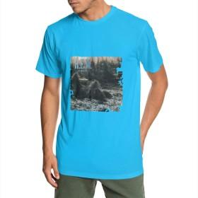 R.E.M. メンズ Tシャツ 夏 半袖 クルーネックトップス Tシャツ ゆったり 吸汗速乾 薄手 個性 通勤 通学
