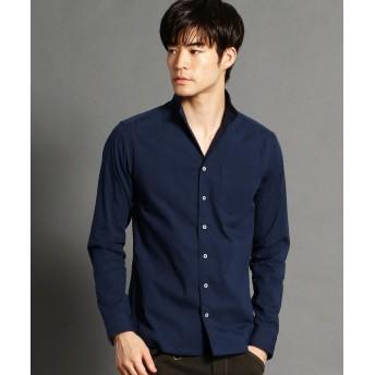 ニコルクラブフォーメン 裏ストライプ柄イタリアンカラーシャツ メンズ 67ネイビー 48(L) 【NICOLE CLUB FOR MEN】