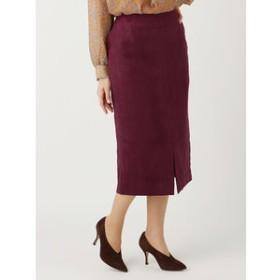 【UNIVERSAL LANGUAGE:スカート】フェイクスウェード フロントスリットロングタイトスカート