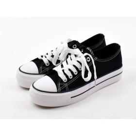[Shoes in closet] スニーカー レディース ページックなローカットスニーカー 適度な厚底ソールで簡単スタイルUP【3477】 (S, ブラック)