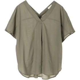 【6,000円(税込)以上のお買物で全国送料無料。】・綿ローン半袖Vネックシャツ