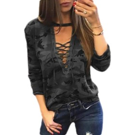 maweisong Women's Camo Shirt Camouflage V Neck Long Sleeve Lace Up Tops Casual Tee Black XL