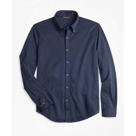 Brooks Brothers(ブルックス ブラザーズ) スーピマコットンピケ ロングスリーブ ボタンフロントニットシャツ 32717850 ネイビー M