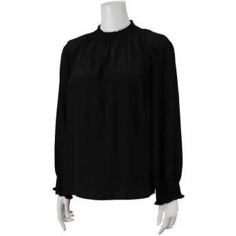 【50%OFF】 ミゼール シャーリング刺繍ブラウス レディース ブラック L 【MISSEL】 【セール開催中】