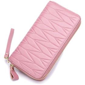 ILuvic 長財布 カードケース 牛本革 クレジットカード パスポート大容量 磁気防止 金具ファスナー 72枚収納 メンズ レディース(6色選べる) (ピンク)