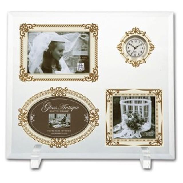 写真立て 卓上用 ギフト グラスアンティークフォトフレーム 3ウィンドー&クロック ホワイト&ゴールドGF-05081