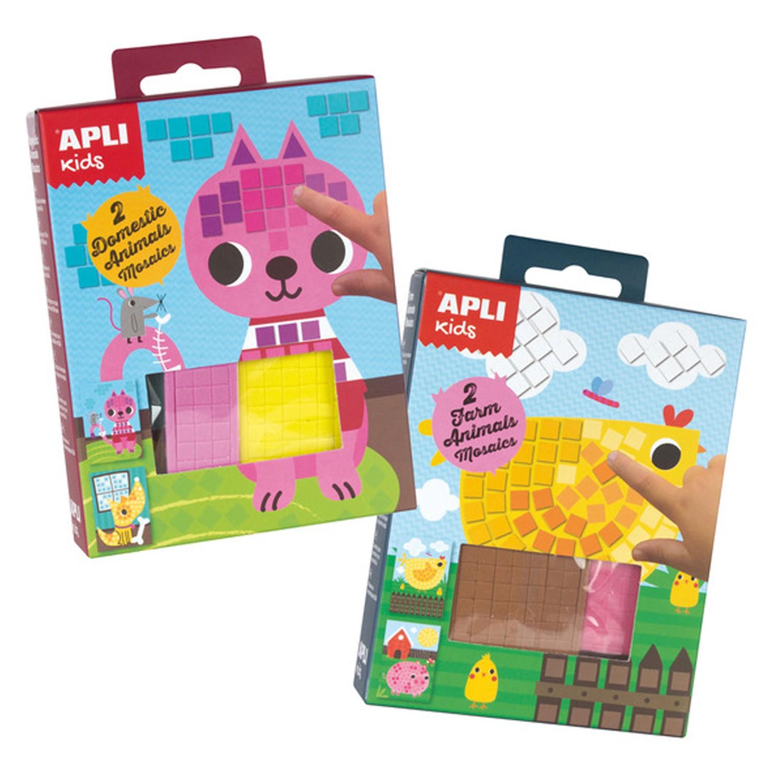 西班牙 APLI - 【馬賽克拼貼超值組】-農場+寵物-底圖4張+各色拼貼共700片