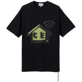 CAV EMPT C.E メンズ Tシャツ ブラック カジュアル 日常用 オーバーサイズTシャツ ゆったり 半袖 トップス 男女兼用 x BEAUTY & YOUTH WIFI Tee T-SHIRT (ブラック, L)