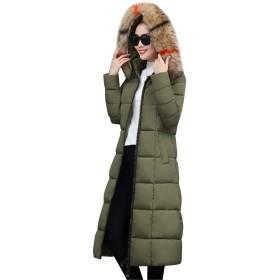 [リュハイ] 冬 レディーズ 大きなサイズ フード付き 厚手 ダウンジャケット コート 膝丈 原宿 防風 防寒 コート モスグリーンM