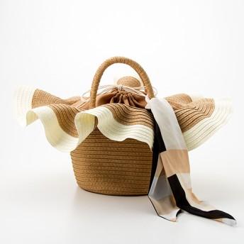 70%OFFスカーフ付き帽子風カゴバッグ - セシール ■カラー:キャメル