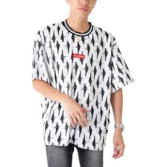 D L (ベストマート)BestMart PLAYBOY プレイボーイ メッシュ総柄 プリントリブライン Tシャツ メンズ 625009-006-950