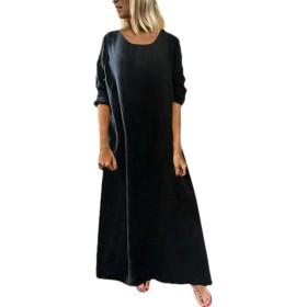 EnergyWD レディースコットン ソリッド ロングスリーブ クルー ネック カジュアル ロング マキシ ビーチ ドレス Black XL
