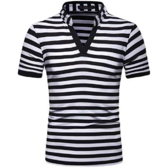 Qiangjinjiu 半袖カジュアルTシャツトップブラウス black XS