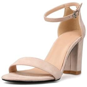 シューズ ファッション 女性のためのアンクルストラップサンダルスティレット8センチヒール高分厚いヒールの靴女性のためのシングルバンドオープントゥ 快適 (Color : ヌード, Size : 24 cm)
