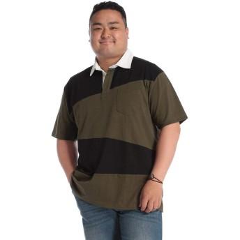 サカゼン B&T CLUB 大きいサイズ メンズ 天竺 斜め切り替え 半袖 ラガーシャツ カーキ / X3(6L~7L相当)