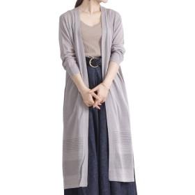 [ゴールドジャパン] 大きいサイズ レディース カーディガン 長袖 透かし編み ロング ニット スリット cpn-481767 LL グレー