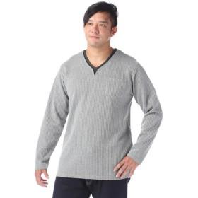 メンズ LOUIS CHAVLON <大きいサイズ> ダブルフェイスキーネックTシャツ