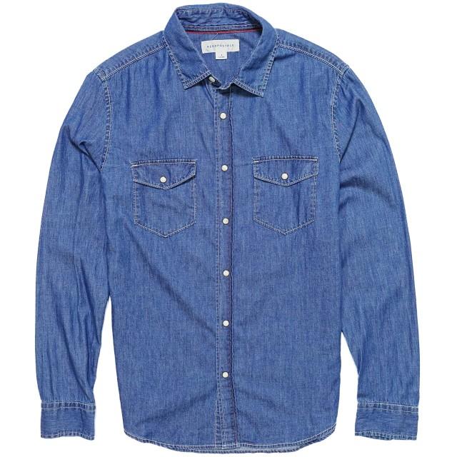(エアロポステール)AEROPOSTALE メンズ Mens 長袖 シャツ Long Sleeve Medium Wash Denim Woven Shirt ミディアム ウォッシュ (XXL) [並行輸入品]