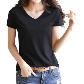 (ナンディン) nandin レディース おしゃれ かわいい 半袖 Tシャツ Vネック トップス シンプル 無地 ティー シャツ お洒落 可愛い 大きい おおきい サイズ (05.黒 S)