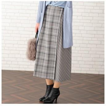 PISANO ピサーノ チェック×ストライプラップ風フレアスカート