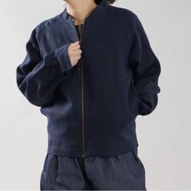 【wafu】中厚 リネン MA-1 2重仕立て フライトジャケット ブルゾン 男女兼用 /ネイビー h048b-neb2