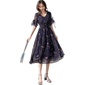 [もうほうきょう] 2019年人気 新しい 夏 気質 小さな花 ロングVネック シフォン= ドレス 女性 スリム ロングウエストスカート (ダークパープル, S)