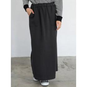 【6,000円(税込)以上のお買物で全国送料無料。】裏毛バックスリットマキシスカート