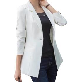 VITryst オフィスファッションのための1つのボタンのフィットの女性の中間のロングコートを着る White XS