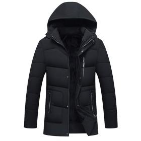 厚い パッド入り ジャケット ために 男性 冬 暖かい コート - 純粋な色 ジッパー ジャケット フード付き コート ロングスリーブ Zhhlinyuan