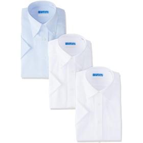 [ドレスコード101] 【半袖 ワイシャツ 3枚 綿100%】高形態安定 メンズ シャツ 形状記憶 ノーアイロン 着心地さらっと ツイル素材×3枚セット 日本 S (日本サイズS相当)