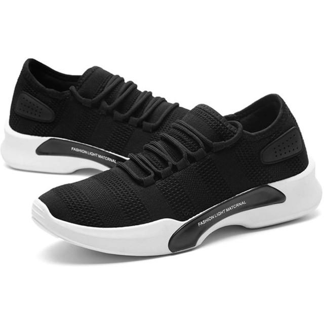 [ディー サック] メンズ スニーカー カジュアル 軽量 通気性 シューズ 通勤 通学 ウォーキング ランニング スポーツ 靴 ローカット 3色 (ブラック)