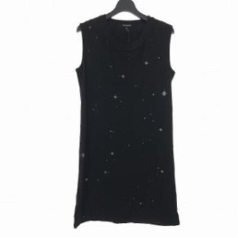 【中古】アンドゥムルメステール ANN DEMEULEMEESTER 18AW 星柄 プリント ドレス ノースリーブ ワンピース 36 黒