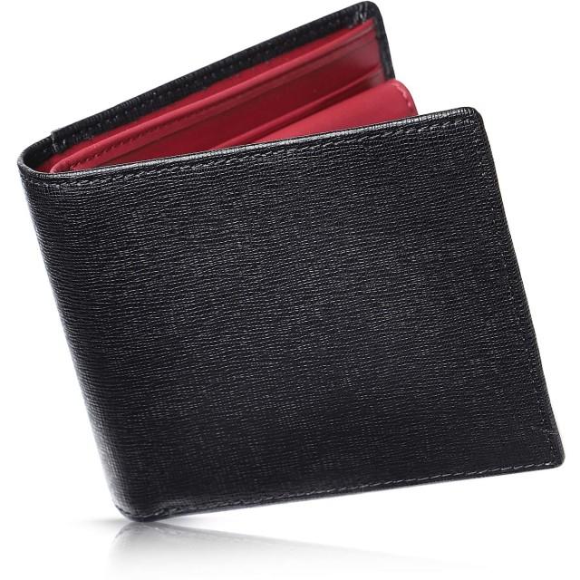 Kohdou 財布 メンズ 二つ折り カード15枚収納 本革 7色 (04.ブラック×レッド)