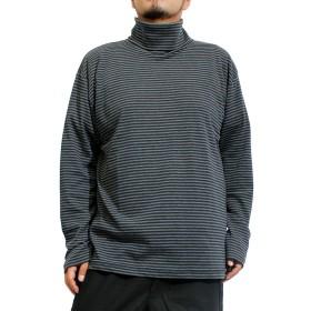長袖Tシャツ メンズ 大きいサイズ 無地 フライス ボーダー タートルネック カットソー 3L ネイビー×ボーダー