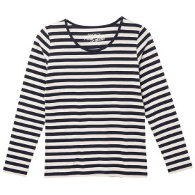 (パークガール)PARK GIRL コットン100%フライス素材ボーダークルーネック長袖Tシャツ レディース 大きいサイズ M/L/LL 562840000a (L, ブラック×オフホワイト(均等))