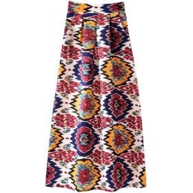 VITryst Womens Floral Printed Vintage Retro Highwaist Big Hem Long Skirt 16 L