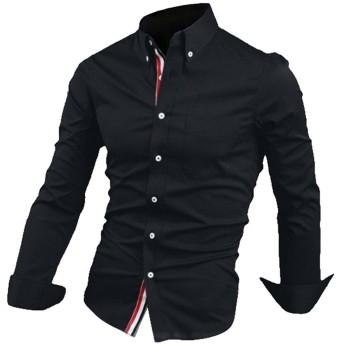 TOOGOO ブラックカラー 秋スタイリッシュファッションショーツ 男性メンズソリッドカラー リボンロングスリーブスリムフィット カジュアルなシャツ XXXL