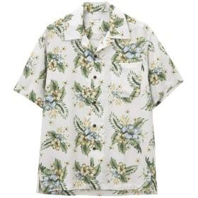 アロハシャツ 半袖 開襟シャツ 夏 Free Nature HAWAII フリーネイチャー ハワイ 花柄 リゾート 旅行 おしゃれ PM193-MF102 メンズ ホワイト:M