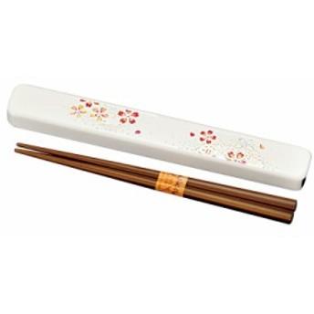 箸箱セット お弁当用 和 和風 箸 箸箱 セット 箸・箸箱セット 花あかり 白 M15300