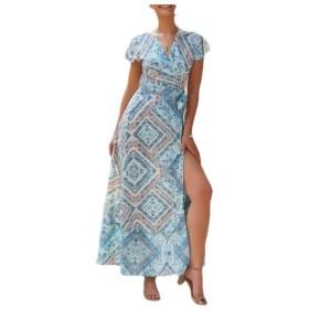 YAXINHE 女性快適スリットラップウエスト分割花プリントエスニックフルレングスドレス Blue M