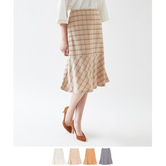 裾フレアチェックスカート