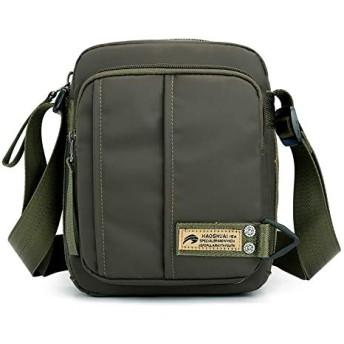 ワンショルダースラントバッグ 多機能大容量カジュアルナイロン防水屋外バックパック着用しにくい 18x7 x 22cm アーミーグリーン