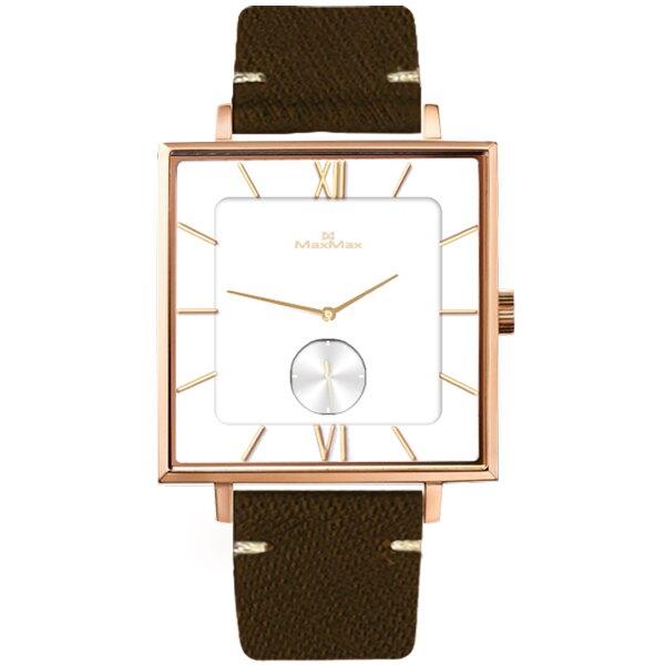 Max Max  MAS7033-2 方形設計超薄極簡腕錶 / 白面 35mm