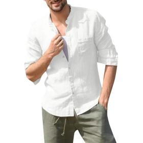 オシャレ シャツ Yindaity シャツ 麻メンズ 襟なし 無地 長袖 デザインシャツ クールビズ ワイシャツ インナーシャツ ハイネックかっこいい 白シャツ カジュアル ファッション 冬 韓国風 ファッション アウター